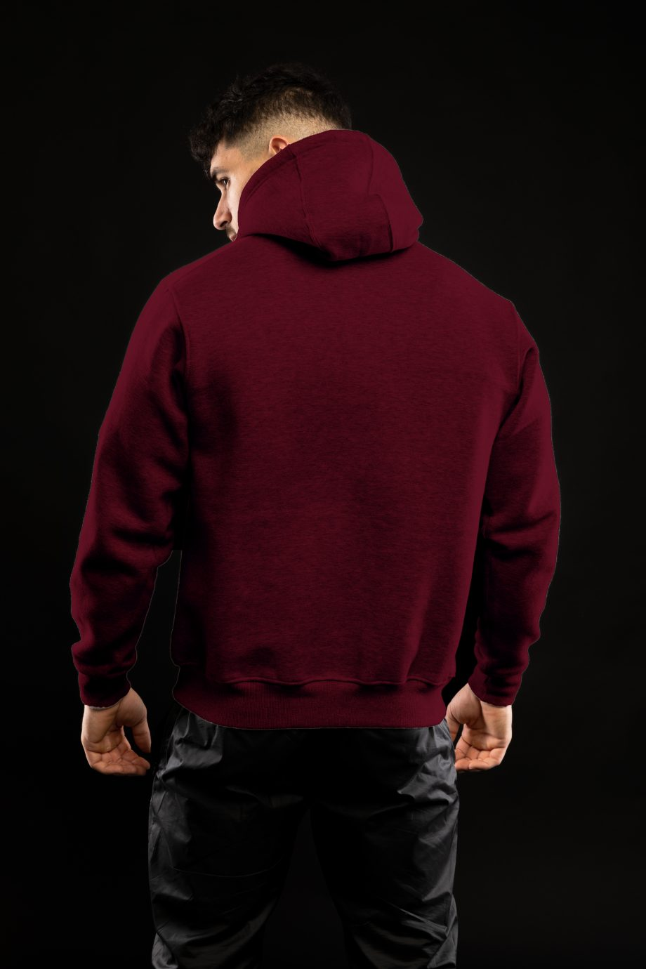 Pull bande blanche bordeaux dos